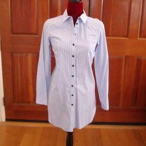 H&M Women Sz 4 Blue Long-Sleeve Button-Down Shirt